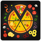 Pizza ingredients - top view of pizza with components