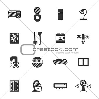 household appliances icon set