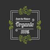 Organic food outline banner or icon