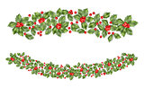 Christmas holly branch border. EPS 10 vector
