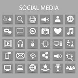 Vector flat icons set and graphic design elements. Illustration with social media, digital technology outline symbols.