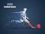 France football championship with player and flag colors., kick a ball, particle divergent composition, vector illustration