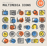 Multimedia bold linear icons