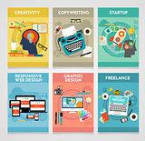 Graphic Design, Responsive Webdesign, Copywriting, Creativity, Startup and Freelance Concept Banners