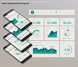 Flat design responsive Admin Dashboard UI mobile app with 3d mockups