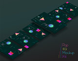 Abstract geometric UI screens 3d mockups