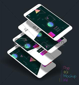 Abstract geometric UI screens 3d mockups