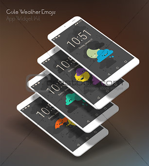 Cute weather moile app screens on 3d smartphone mockups