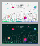 Vector linear trendy illustration of a big city, in new material style