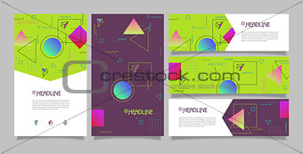 Abstract vector polygonal design banners and booklet templates