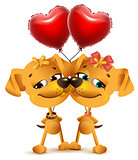 Dog couple love and red balloons of heart shape