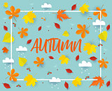 Autumn. Fall banner background template with beautiful colorful autumn leaves and rain clouds.Cut from paper vector illustration.
