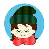 Girl in knitted hat and scarf. Hello winter illustration.