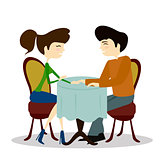 Illustration of a Man and Woman Asking Each Other Questions at a Speed Dating Event