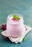 Natural homemade yogurt with raspberry