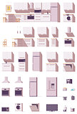 Vector kitchen equipment and furniture set
