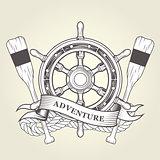 Vintage steering wheel and oars - nautical emblem with handwheel