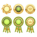 Green award rosettes with gold heraldic medal templates