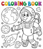 Coloring book astronaut theme 1