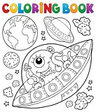 Coloring book flying saucers near Earth