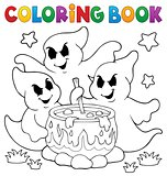 Coloring book ghosts stirring potion