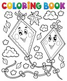 Coloring book happy autumn kites