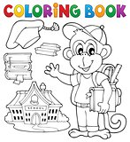 Coloring book school monkey theme 1