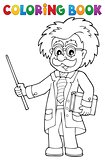 Coloring book scientist with pointer