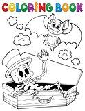 Coloring book skeleton and bat