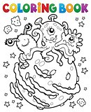 Coloring book three aliens on planet