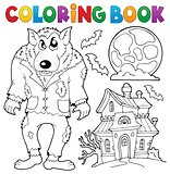 Coloring book werewolf theme