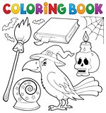 Coloring book witch crow theme