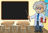Scientist by blackboard theme image 1