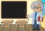 Scientist by blackboard theme image 1