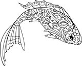fish zentangle style. Coloring book for adult and kids, antistress coloring pages