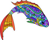 Hand drawn stylized sea fish, zen-doodle style art. Catoon animal for coloring book page. Isolated colorful fish.