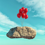 Red balloons lift a big stone