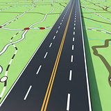 Highway on a road map. 3D Rendering