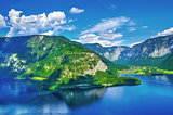 Panoramic view on Austrian mountains Alps lake