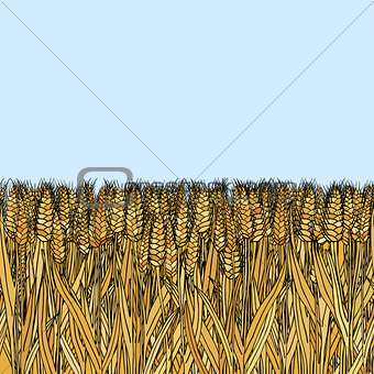 abstract vector cartoon doodle wheat seamless pattern