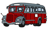 Old red and gray bus