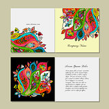 Greeting card design, floral background
