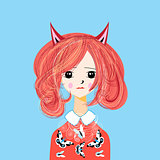 Vector funny cartoon portrait of a girl