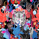 Seamless bright floral pattern of wild beasts