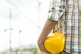 Photo of builder with helmet