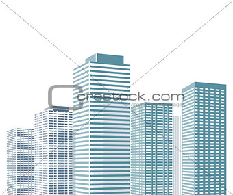 Cityscape with high houses Illustration