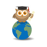Owl graduate on globe with shade on white background