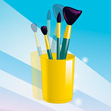 Realistic mockup glass and makeup brushes. Vector illustration.