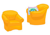 Two yellow armchairs with pillow isolated on white background. Vector illustration