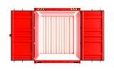 Open red cargo container with light inside